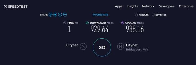 Citynet 1000/1000 Speed Test Results